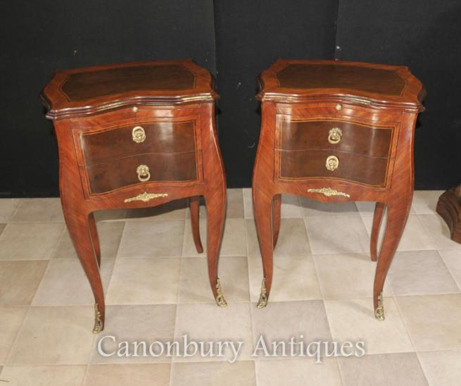 Pair French Empire Bedside Chests Cabinets Nightstands