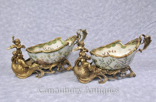 Pair French Empire Cheurb Swan Dishes Bowls Ormolu