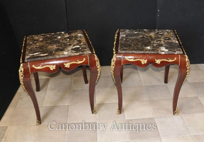Pair French Empire Marble Topped Side Tables Cocktail Table