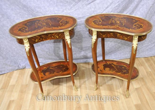 Pair French Louis XVI Side Table Kidney Bean Form