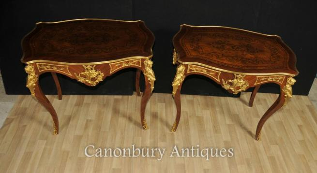 Pair French Louis XVI Side Tables Cocktail Table Inlay