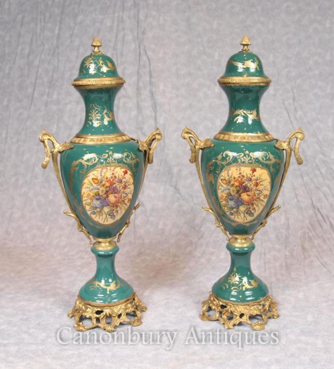 Pair French Sevres Floral Porcelain Vases Urns