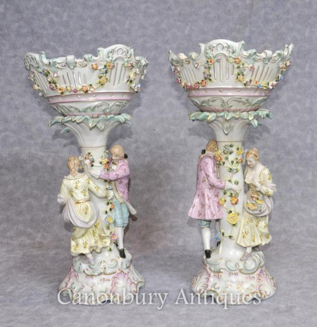Pair German Dresden Porcelain Encrusted Bowl Planter Stands