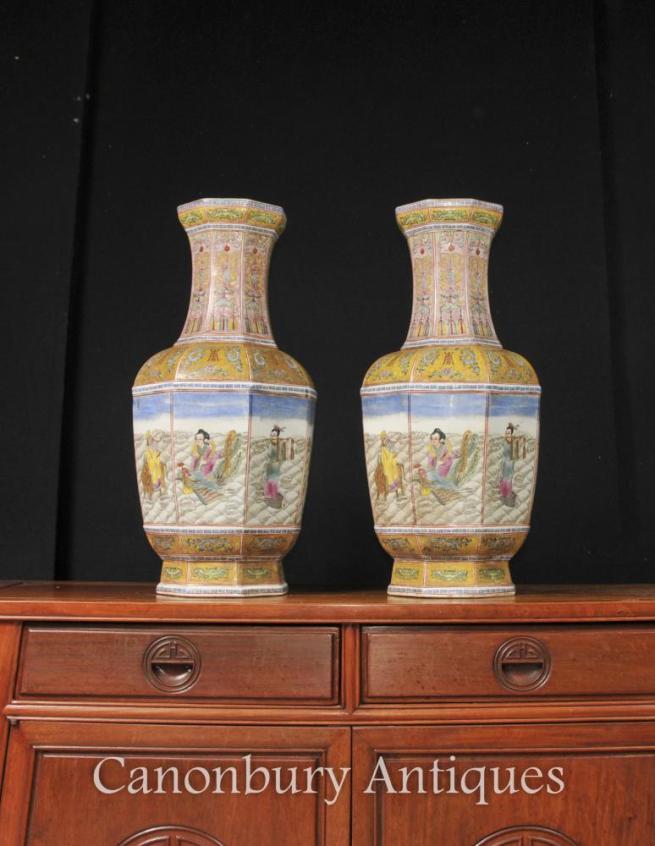 Pair Japanese Satsuma Porcelain Hand Painted Vases Urns Floral