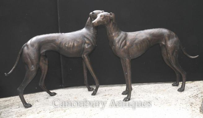 Pair Lifesize Bronze Greyhounds Art Deco Dogs