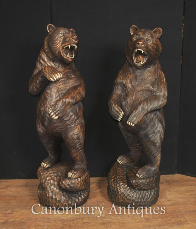 Pair Lifesize Carved Black Forest Bear Statues German