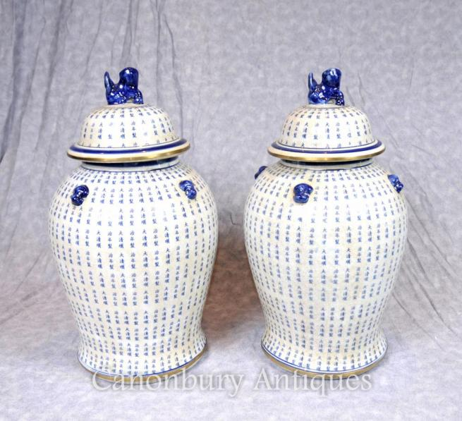 Pair Ming Blue and White Porcelain Ginger Jars Temple Urns Mandarin Vases