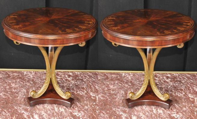 Pair Regency Inlay Side Tables Gilt Base
