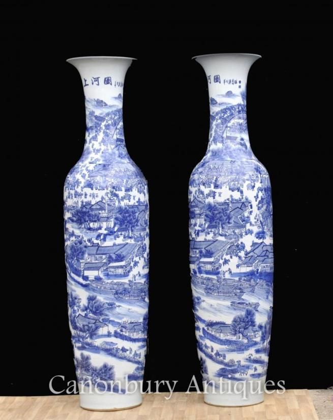 Pair XL Chinese Nanking Porcelain Vases Urns Ceramic