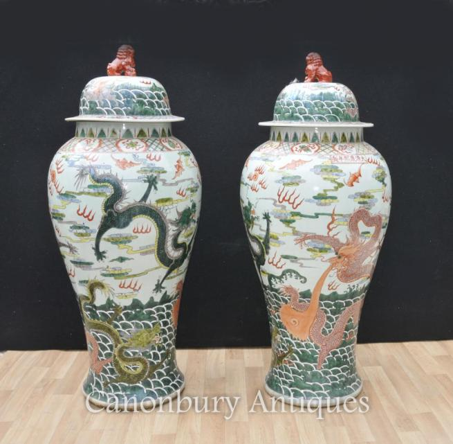 Pair XL Chinese Qing Porcelain Ginger Jars Vases Dragon Pottery