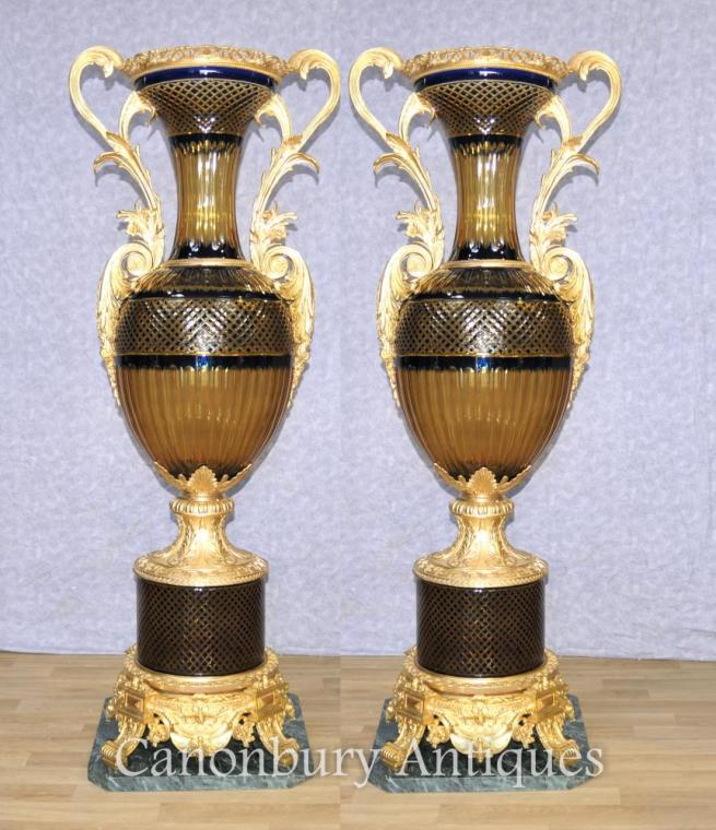 Pair XL French Empire Crystal Cut Glass Urns Vases Ormolu