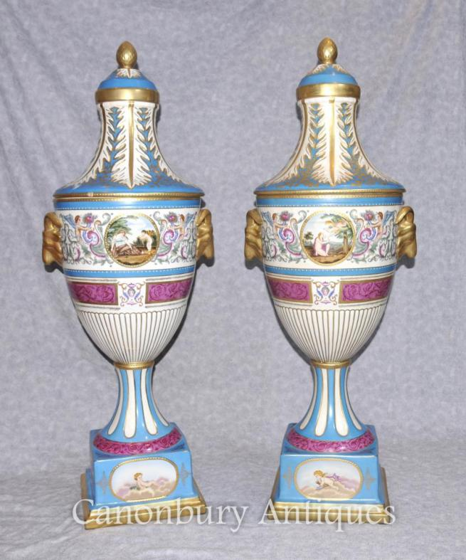Pair XL German Dresden Porcelain Vases Urns Rams Head