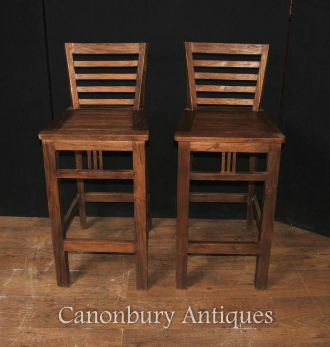 Set Six Art Deco Teak Kitchen Bar Stools
