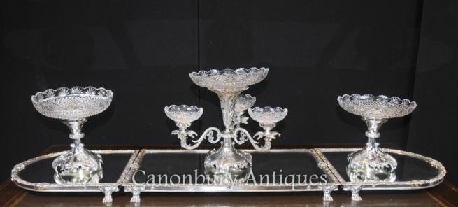 Sheffield Silver Plate Rococo Centrepiece Epergne Glass Bowl