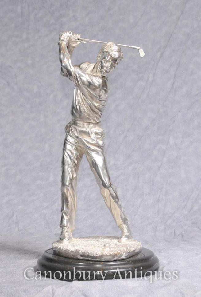 Silver Plated Bronze Golfer Statue Scottish Golf Figurine