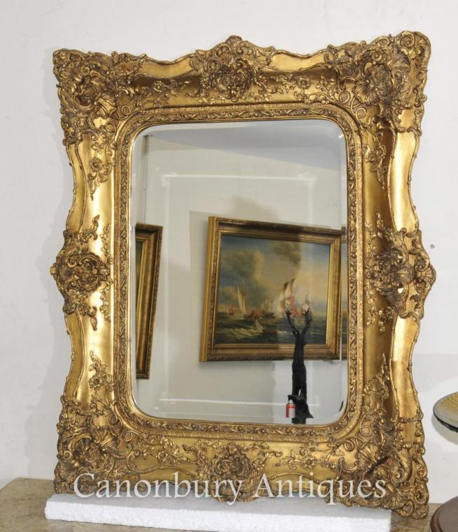 Victorian Gilt Mantle Mirror Hall Mirrors Glass Frame