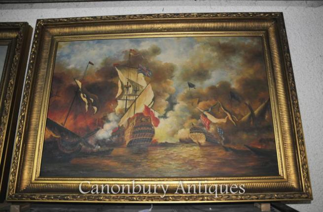 Victorian Oil Painting Battle of Trafalgar Maritime Sea Scape Ships