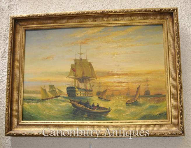 Victorian Oil Painting English Channel Seascape Maritime Ships Turner