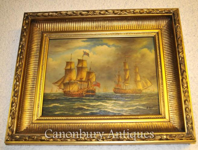 Victorian Oil Painting English Galleons Battle Trafalgar Maritime Sea Scape