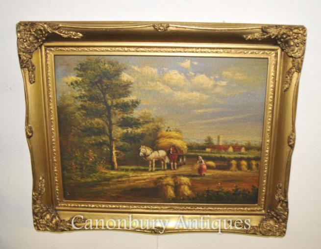 Victorian Oil Painting Horse Hay Stack Suffolk Manner Constable