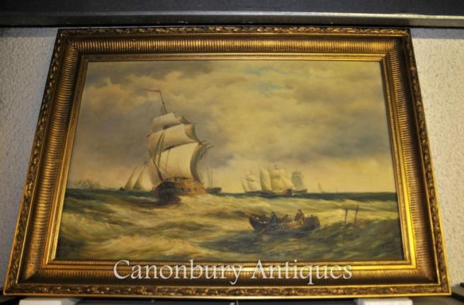 Victorian Oil Painting North Sea Seascape Turneresque Romantic Art