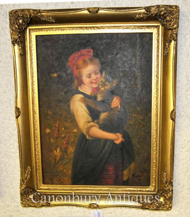 Victorian Oil Painting Portrait Girl and Kitten Cat Signed
