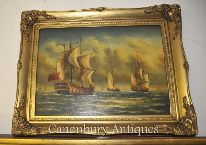 Victorian Oil Painting Sea Scape Galleons English Channel