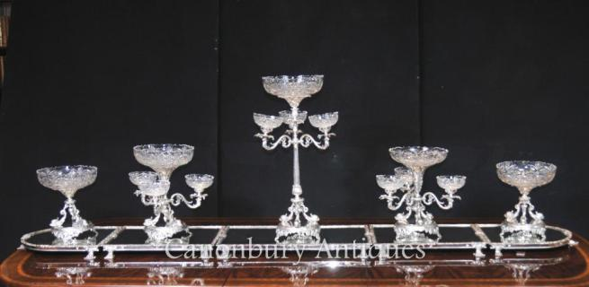 Victorian Sheffield Silver Plate Epergne Centrepiece Cut Glass Bowl