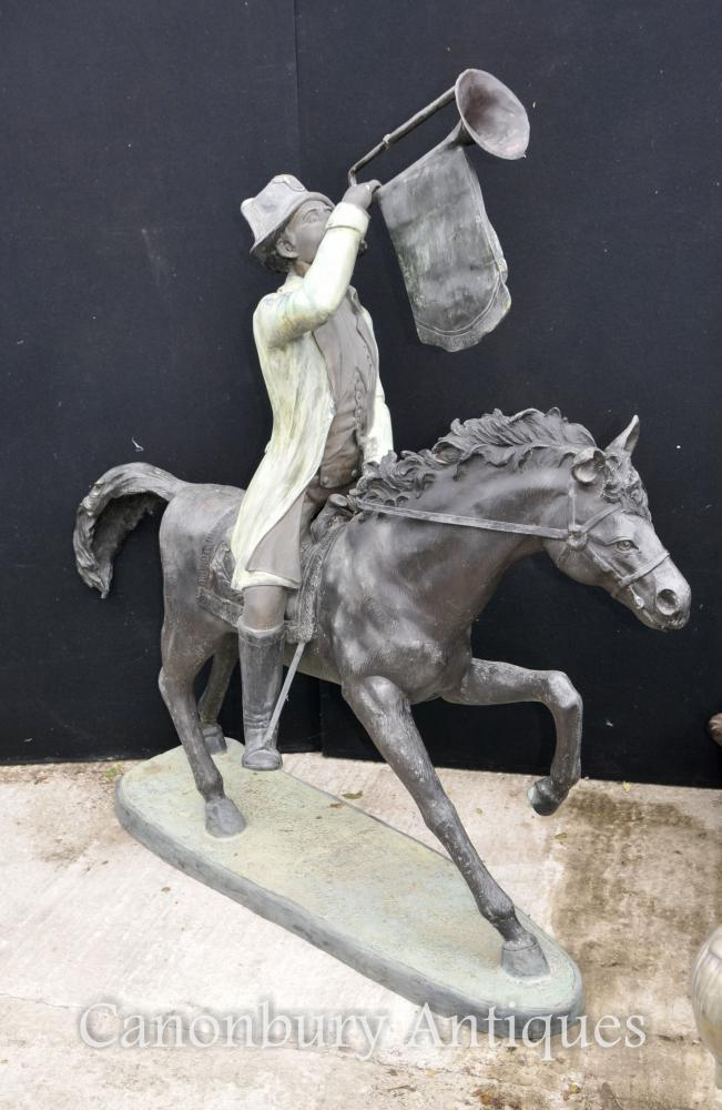 XL French Bronze Huntsman Horse Architectural Garden Sculpture