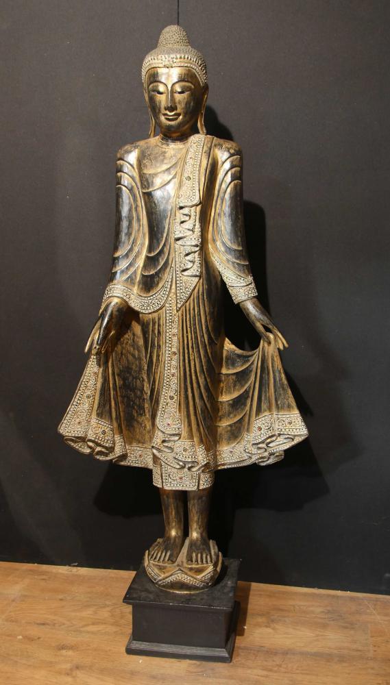 6ft Hand Carved Burmese Mandalay Buddha Statue Buddhist Art Buddhism