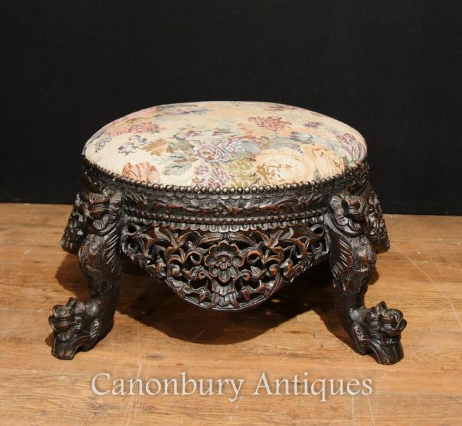 Antique Carved Burmese Foot Stall Hard Wood Stools Burma 1880