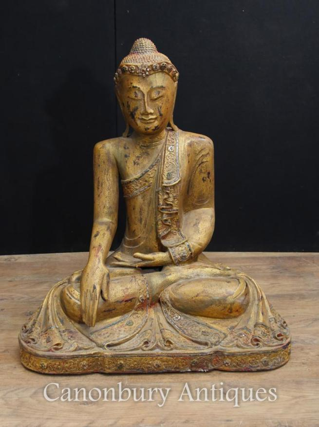 Antique Carved Nepalese Buddha Statue Buddhist Art Meditation Pose Abhaya Mudra