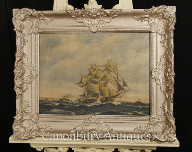 Antique Dutch Oil Painting Ship Maritime Seascape Art