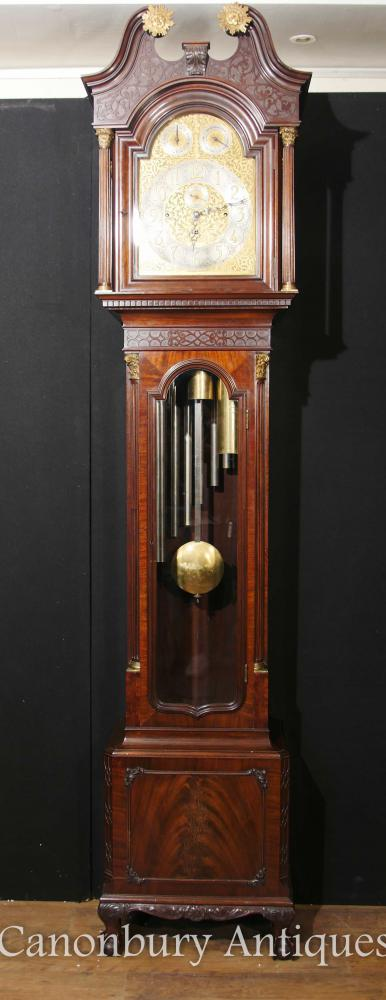 Antique English Grandfather Clock Mahogany Musical Movement Baker of Bath