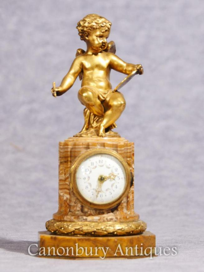 Antique French Empire Cherub Clock Mantle Clocks Ormolu 1890