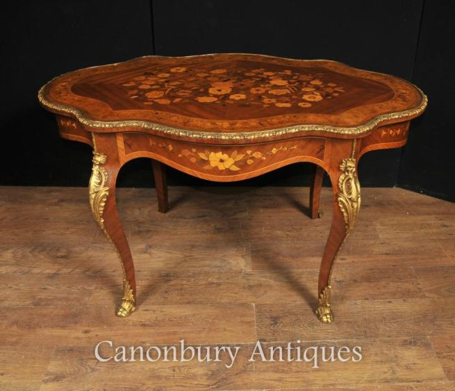 Antique French Empire Shaped Coffee Table 1880 Marquetry Inlay