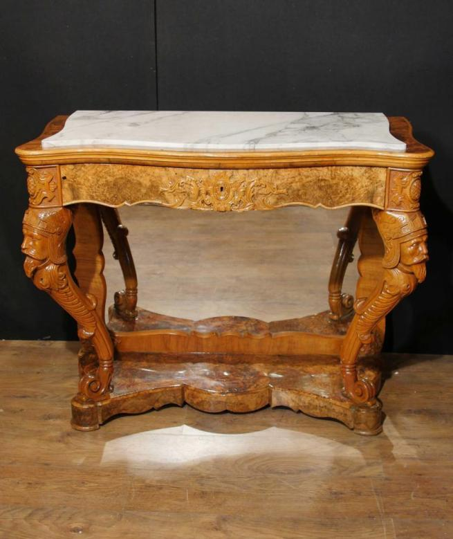 Antique French Maple Console Table Carved Base Circa 1840