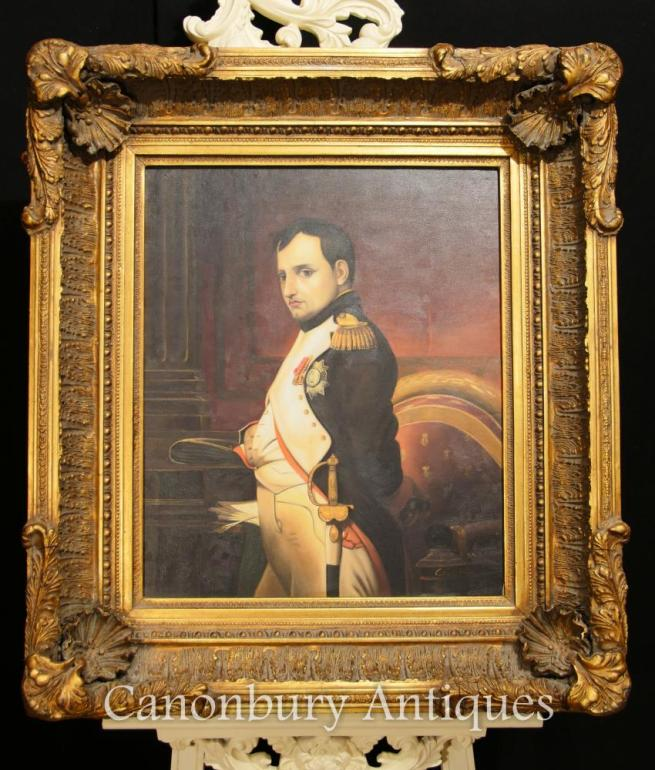 Antique French Oil Painting Portrait Emperor Napoleon Bonaparte Signed