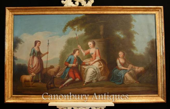 Antique French Oil Painting Romantic Portrait Courtly Love Art