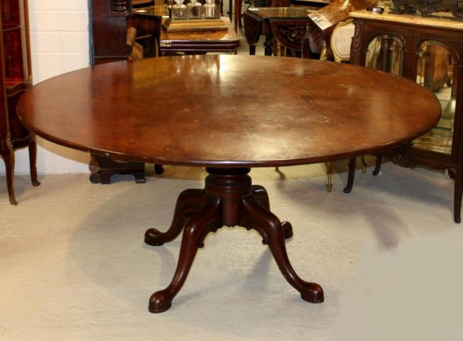 Antique Georgian Round Mahogany Dining Table Tilt Top