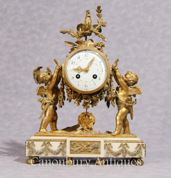 Antique Louis XVI Mantle Clock Ormolu Cherub