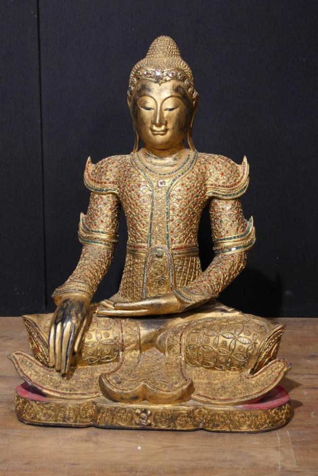 Antique Nepalese Buddha Statue Carved Wood Buddhism Buddhist Art