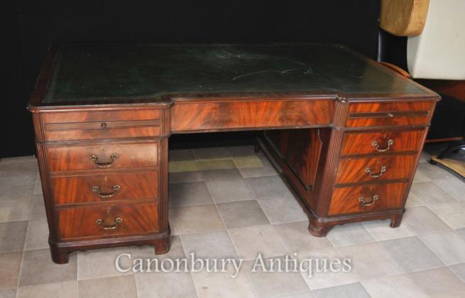 Antique Regency Knee Hole Pedestal Desk Flame Mahogany
