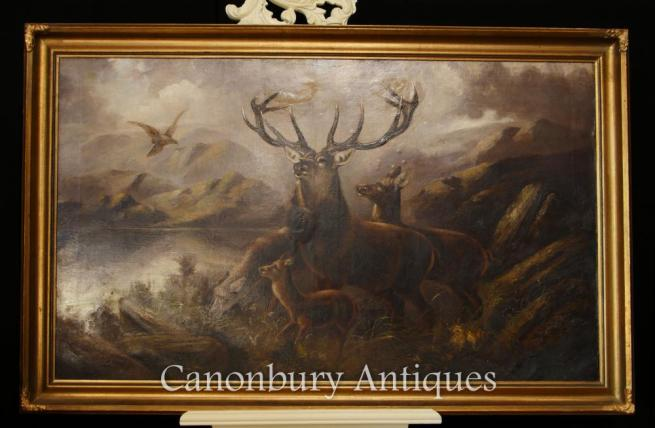 Antique Scottish Oil Painting Monarch of the Glen Stag Highlands Landscape