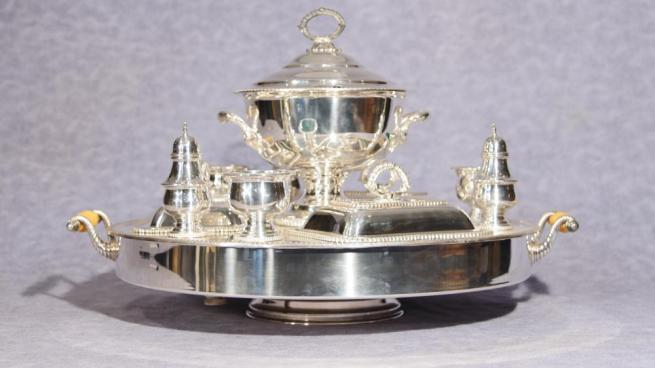 Antique Sheffield Silver Plate Lazy Susan Server Dish