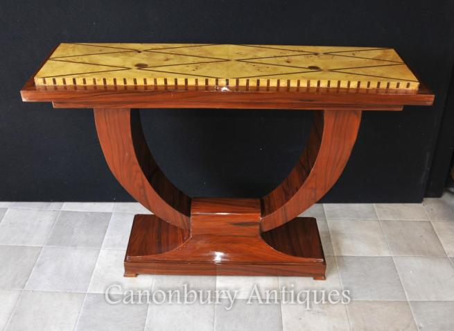 Art Deco Ogee Rosewood Console Table Hall Tables