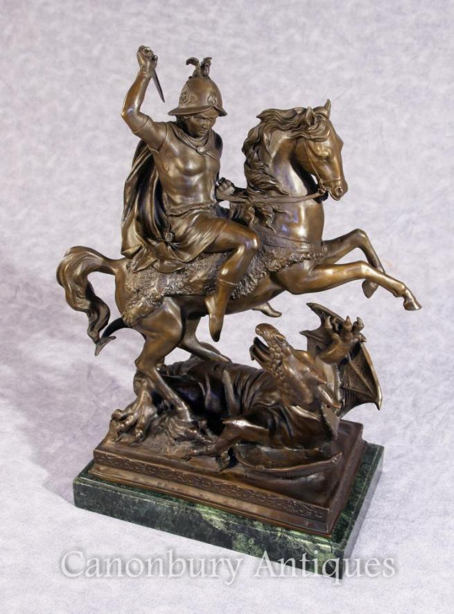 Bronze St George and Dragon Slayer Horse Statue Signed Barye Saint