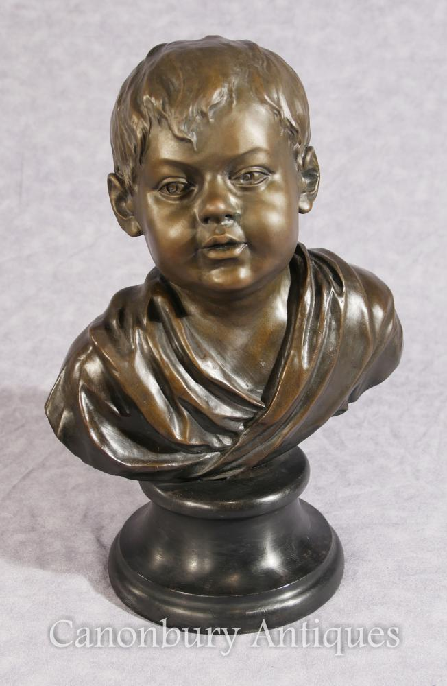 Classical French Bronze Boy Bust Casting Child