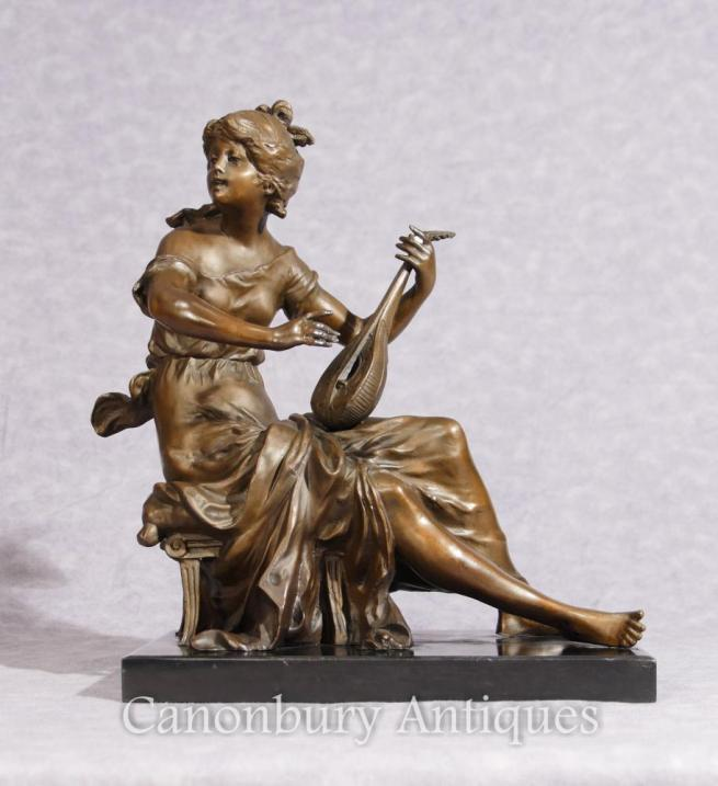 Classical Italian Bronze Maiden and Lyre Statue Figurine Signed