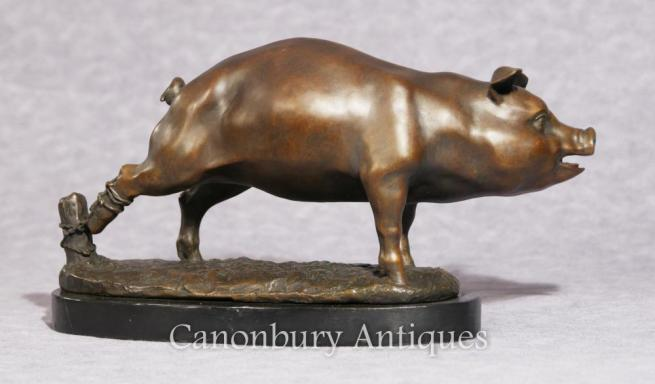 English Bronze Pig Statue Casting Piglet Farmyard